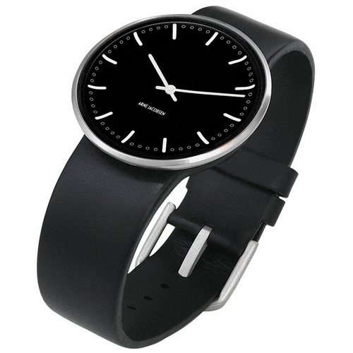 "Rosendahl Arne Jacobsen Watch - Black City Hall Dial & Black Calf Skin Band  (1.6"" Dia.)"