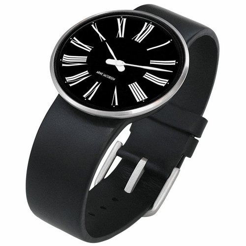 "Rosendahl Arne Jacobsen Watch - Black Roman Dial & Black Calf Skin Band  (1.8"" Dia.)"