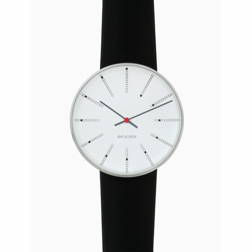 "Rosendahl Arne Jacobsen Watch - White Banker Dial & Black Calf Skin Band  (1.8"" Dia.)"