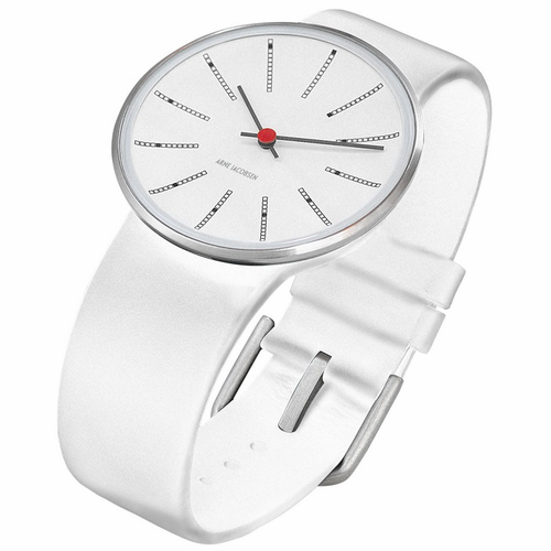 "Rosendahl Arne Jacobsen Watch - White Banker Dial & White Calf Skin Band  (1.6"" Dia.)"