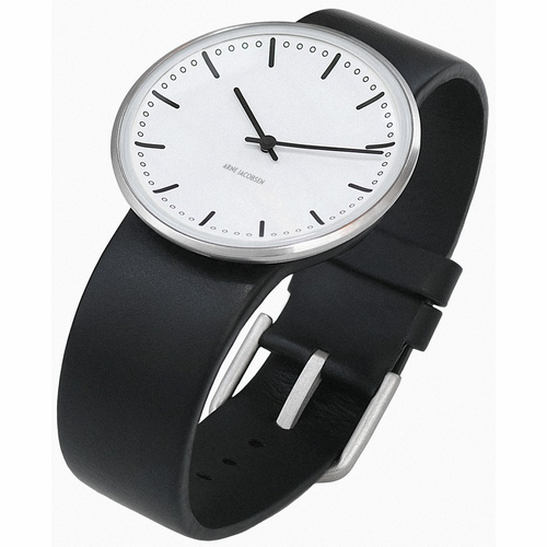 "Rosendahl Arne Jacobsen Watch - White City Hall Dial & Black Calf Skin Band  (1.8"" Dia.)"