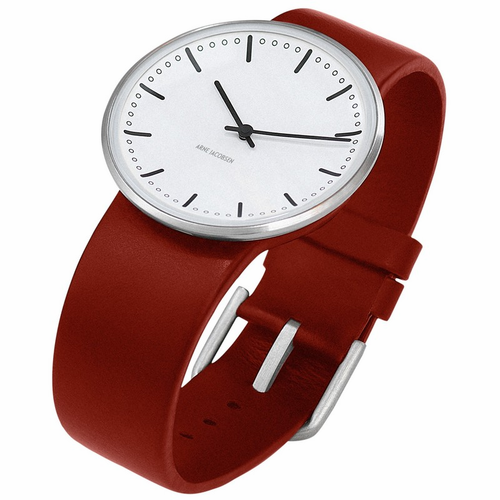 "Rosendahl Arne Jacobsen Watch - White City Hall Dial & Red Calf Skin Band  (1.6"" Dia.)"