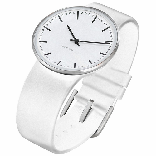 "Rosendahl Arne Jacobsen Watch - White City Hall Dial & White Calf Skin Band  (1.3"" Dia.)"