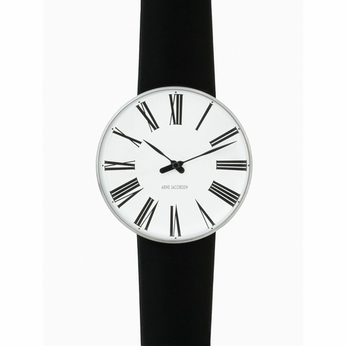 "Rosendahl Arne Jacobsen Watch - White Roman Dial & Black Calf Skin Band  (1.8"" Dia.)"