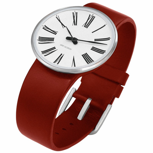 "Rosendahl Arne Jacobsen Watch - White Roman Dial & Red Calf Skin Band  (1.6"" Dia.)"