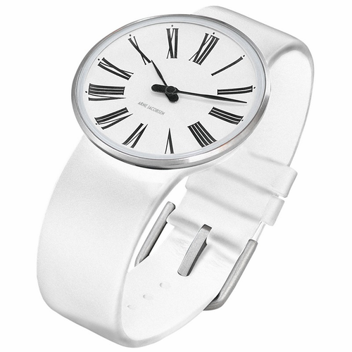 "Rosendahl Arne Jacobsen Watch - White Roman Dial & White Calf Skin Band  (1.6"" Dia.)"