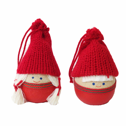 Round Tomte Children Ornament - Set of 2
