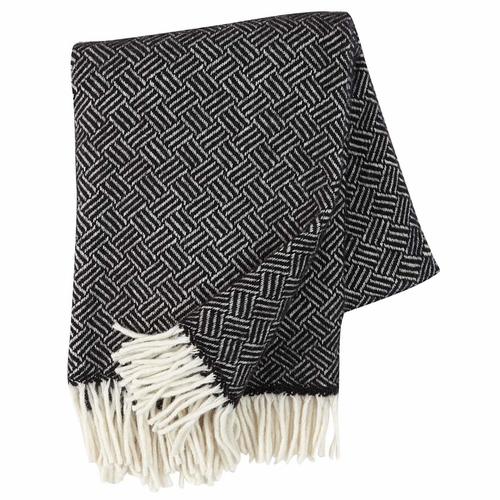 Klippan Samba Brushed Lambs Wool Throw, Black