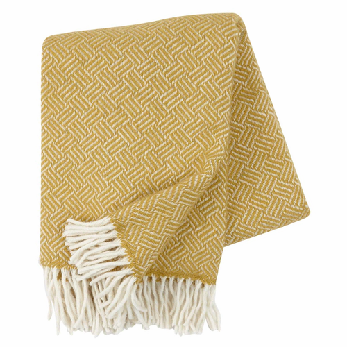 Klippan Samba Brushed Lambs Wool Throw, Yellow
