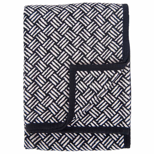 Samba Organic Cotton Chenille Blanket, Black