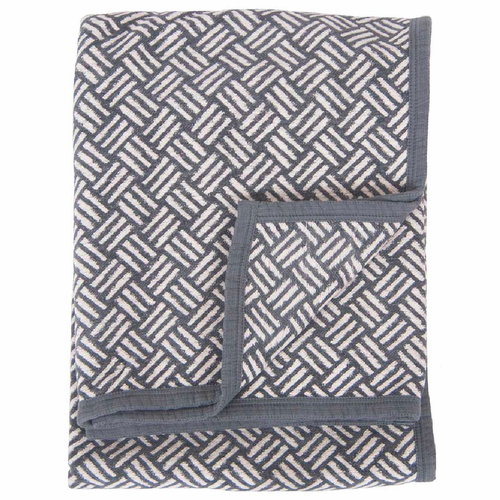 Samba Organic Cotton Chenille Blanket, Grey