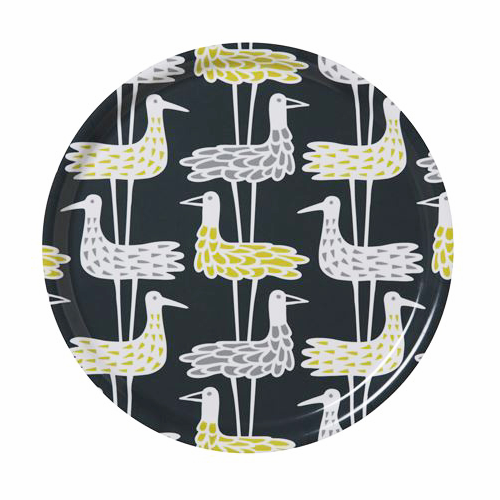 Shore Birds Blue Round Tray