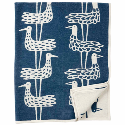 Shore Birds Cotton Chenille Blanket, Blue