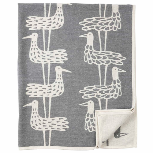Shore Birds Organic Cotton Chenille Blanket, Grey