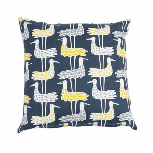 Shore Birds Printed Cushion Cover, Blue