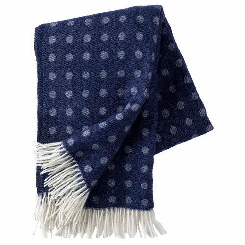 Spot Brushed Merino & Lambs Wool Throw, Navy Blue