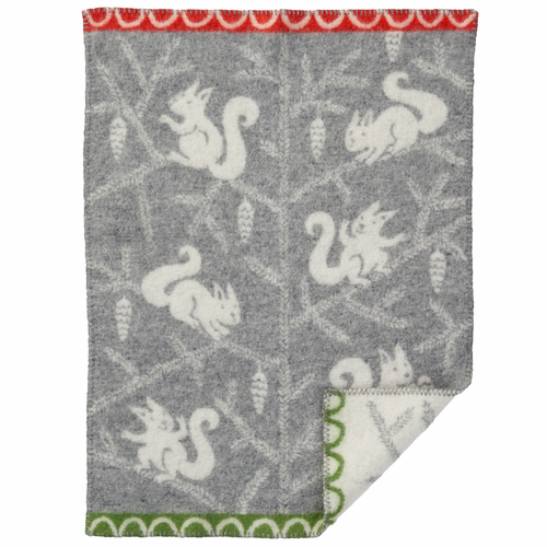Squirrel ECO Wool Baby Blanket, Grey
