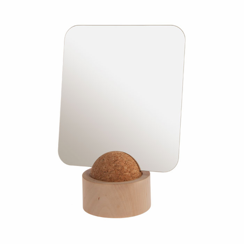 Standing Mirror attached to Cork Ball, Birch Base
