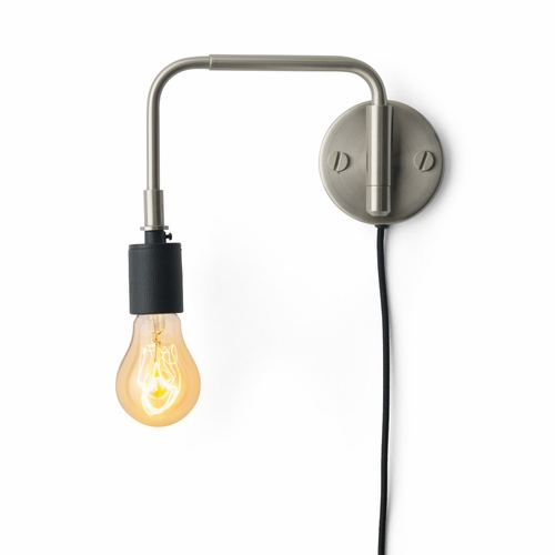 Staple Wall Lamp, Brushed Steel
