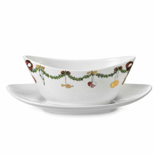 Star Fluted Christmas Gravy Boat w/ Stand