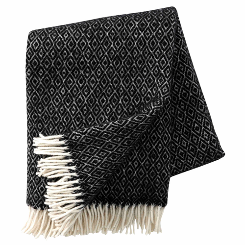 Stella Brushed Lambs Wool Throw, Black