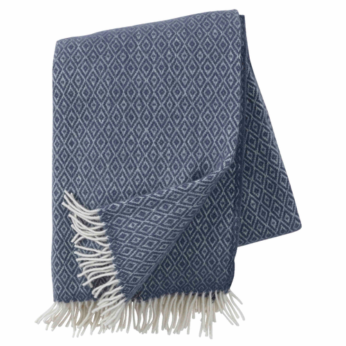 Stella Brushed Lambs Wool Throw, Smokey Blue