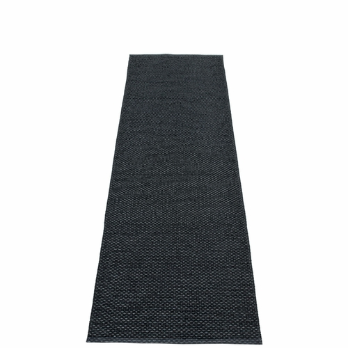 Svea Plastic Rug - Black Metallic/Black, 2 1/4' x 10 1/2'