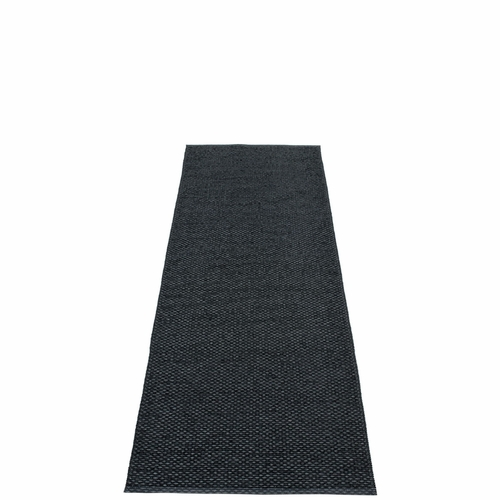 Svea Plastic Rug - Black Metallic/Black, 2 1/4' x 8'