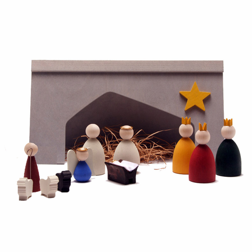 Swedish Wooden Christmas Nativity Set - 12 Pieces - Made in Sweden
