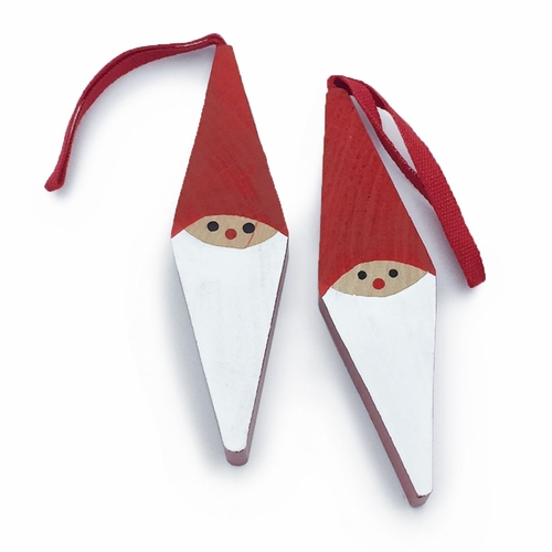 Swedish Wooden Tomte Ornaments, Set of 2 (1 Left)