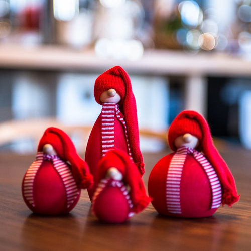 Swedish Wooden Tomte, Set of 4