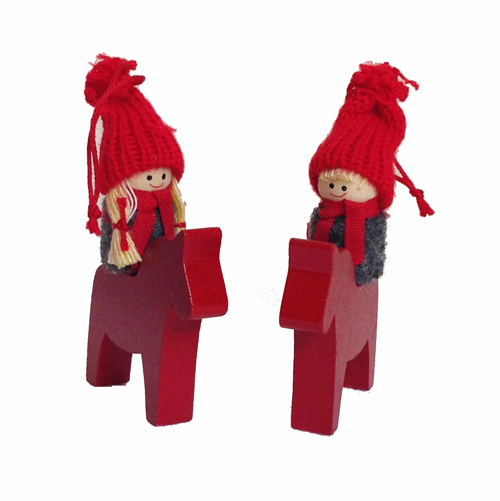 Tomte Children on Horseback Ornament - Set of 2