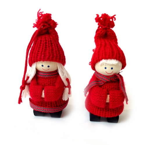 Tomte Girl and Boy Ornaments