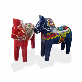 Traditional Swedish Wooden Dala Horse - Blue or Red  - Click to enlarge