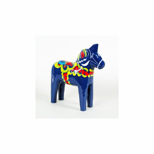 Traditional Swedish Wooden Dala Horse - Blue - 4 Sizes