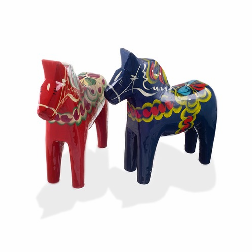 Traditional Swedish Wooden Dala Horse - Red or Blue - 6 Sizes