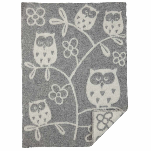 Tree Owl ECO Wool Baby Blanket, Light Grey