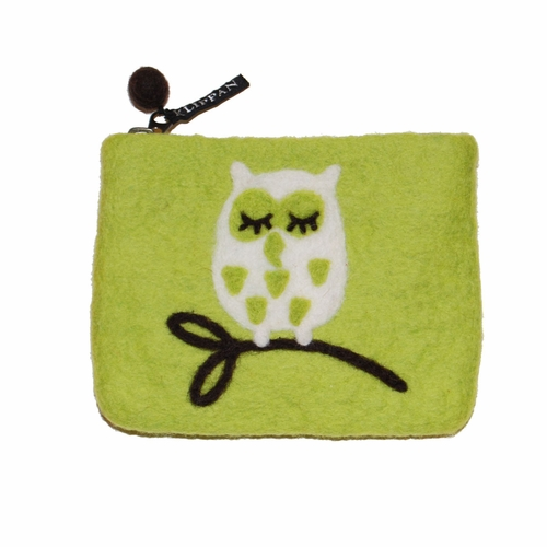 Tree Owl Felted Wool Purse