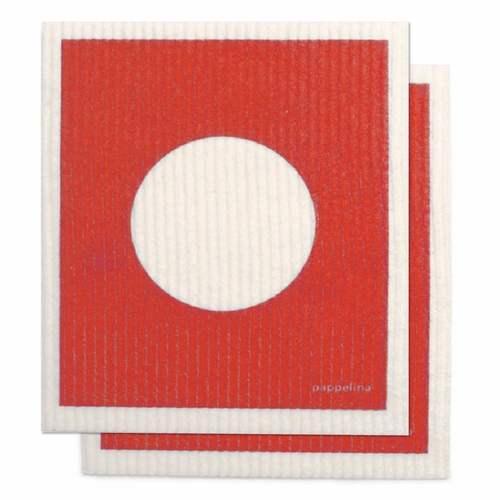 "Vera Dishcloth, Set of 2 - Red, 7"" x 8"""