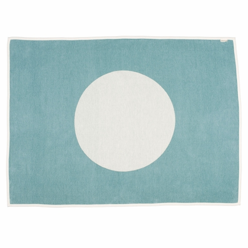 Vera Lambs Wool & Cotton Chenille Blanket - Turquoise, 4 1/2' x 6'