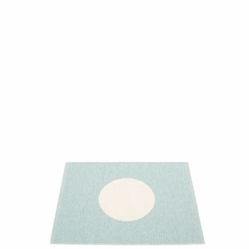 Pappelina Vera Small One Plastic Rug - Pale Turquoise/Vanilla, 2 1/4' x 3'