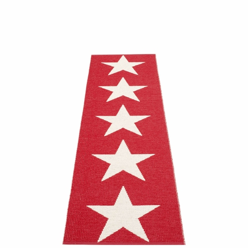 "Viggo One Plastic Rug - Red/Vanilla, 27"" x 99"""