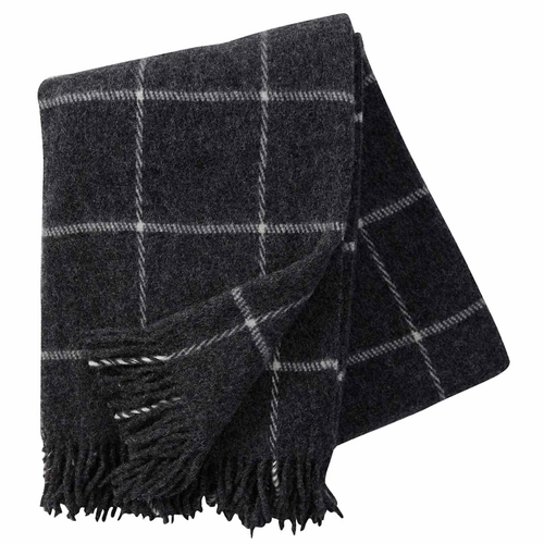 Klippan Vinga Brushed Lambs Wool Throw, Dark Grey