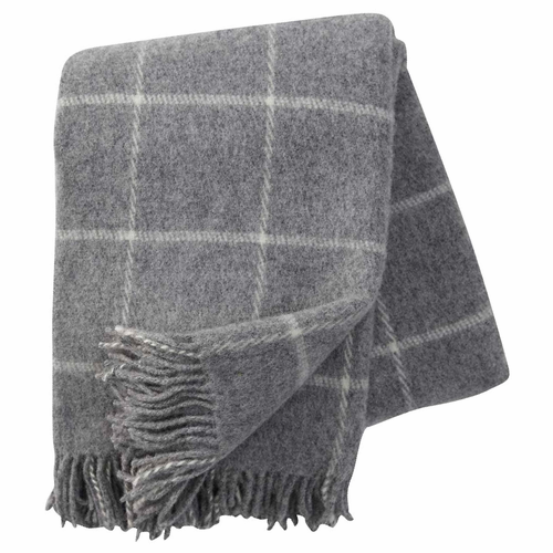 Vinga Brushed Lambs Wool Throw, Light Grey