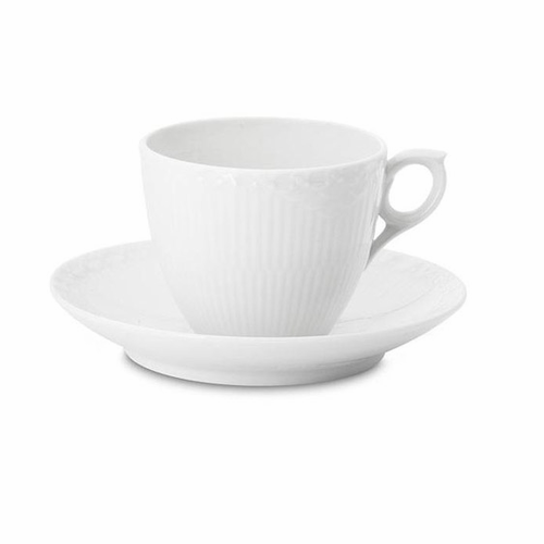 White Fluted Half Lace Coffee Cup & Saucer