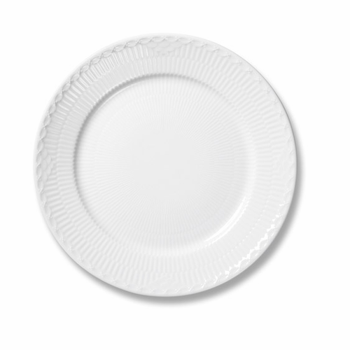 White Fluted Half Lace Dessert Plate