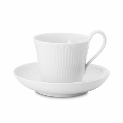 White Fluted Half Lace High Handled Cup & Saucer