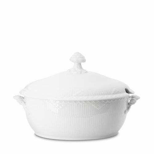 White Fluted Half Lace Oval Tureen