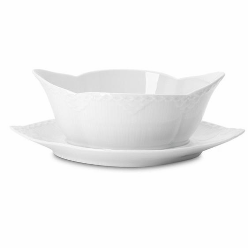 White Fluted Half Lace Sauce Boat