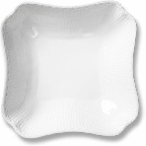 White Fluted Half Lace Square Serving Dish